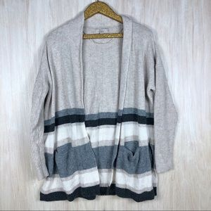 LOFT Stripe Wool Blend Knit Open Cardigan Sweater